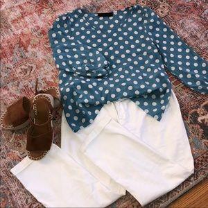 Polka dot blouse; blue & white